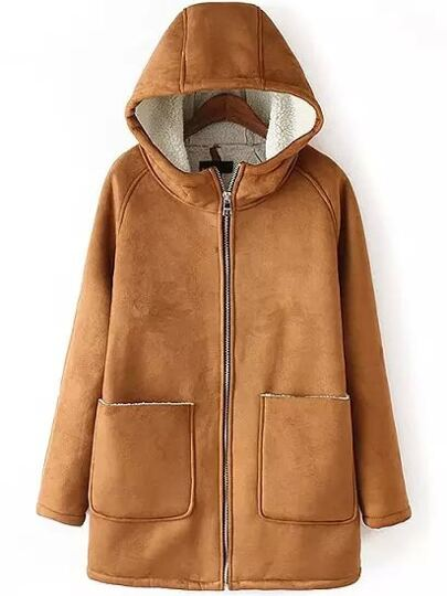 Khaki Hooded Long Sleeve Pockets Coat