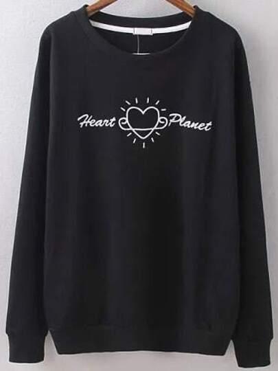 Sweat-shirt brodé col rond -Noir