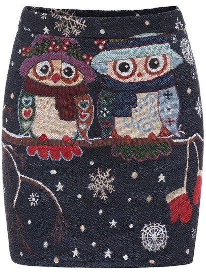 Multicolor Slim Owl Print Bodycon Skirt