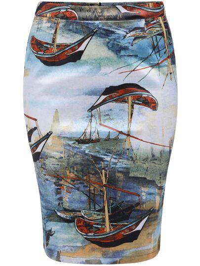 Multicolor Ship Print Bodycon Skirt
