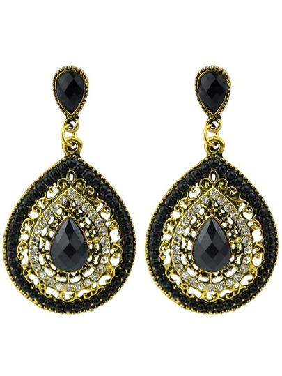 Beads Black Hanging Earrings