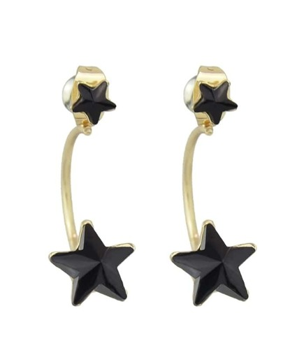 Black Rhinestone Stud Star Earrings
