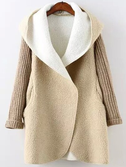Khaki Hooded Long Sleeve Pockets Sweater Coat