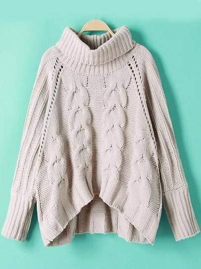 High Neck Cable Knit Dip Hem Sweater