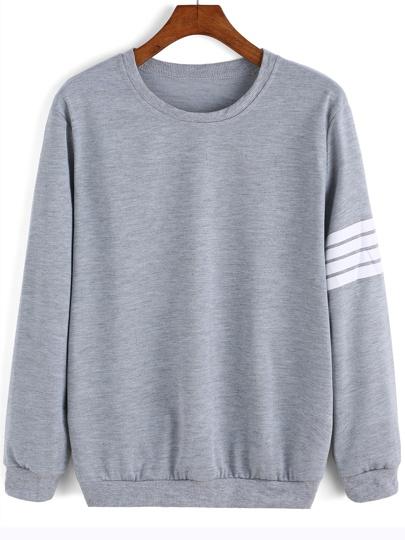 Grey Round Neck Varsity-Striped Sweatshirt