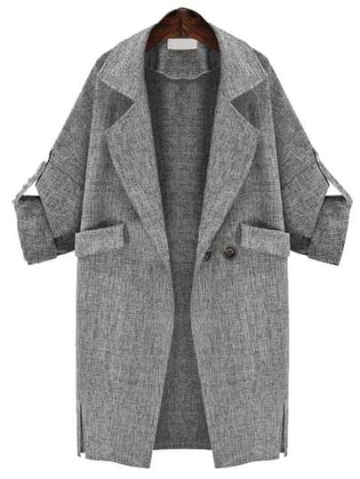 Grey Lapel Pockets Loose Coat