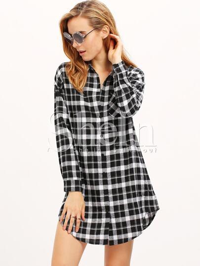 Black White Long Sleeve Lapel Grid Blouses Plaid Dress