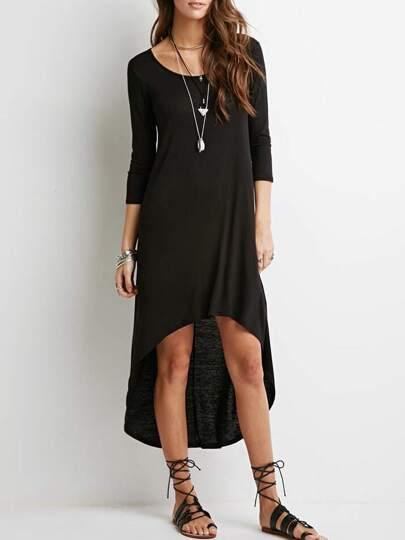 Black Frocks Round Neck High Low Dress