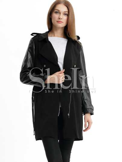Black Long Sleeve Lapel Zipper Trench Coat