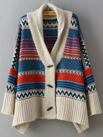 Multicolor Long Sleeve Tribal Print Sweater Coat