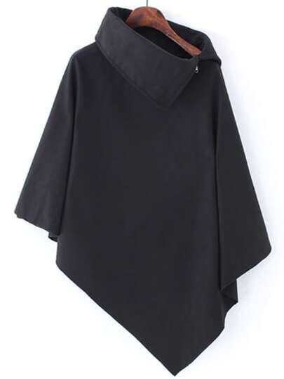Black Turtleneck Asymmetrical Cape Coat