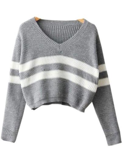 Jersey cuello V rayas crop -gris