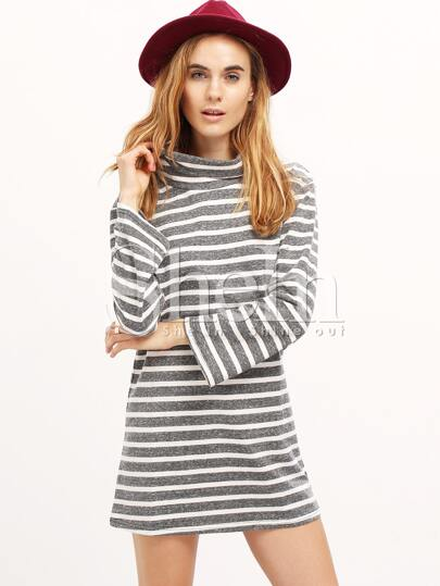 White Grey Long Sleeve Striped Dress