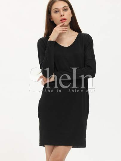 Black V Neck Pockets Dress