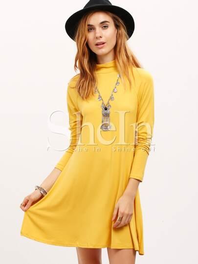 Yellow Long Sleeve Casual Dress