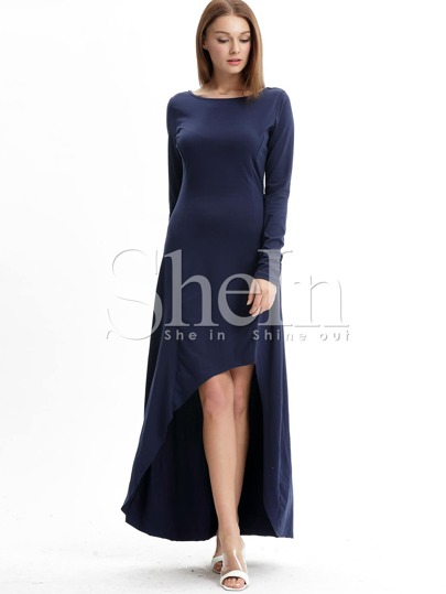 Navy Slate Uneven Long Sleeve Asymetric High Low Dress