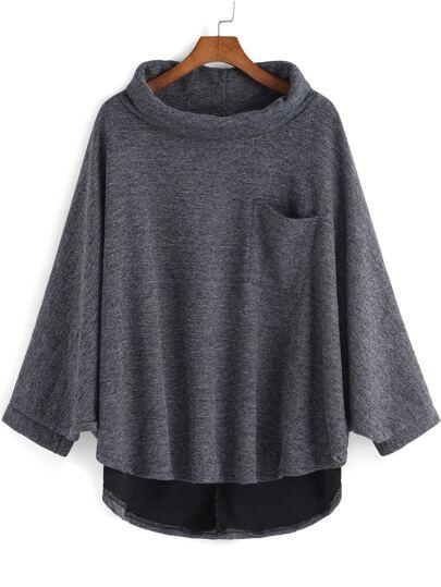Grey High Neck Pocket Loose Cape Sweatshirt