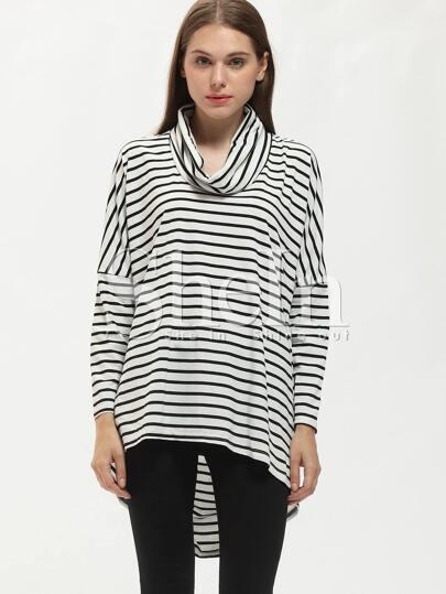 Black White High Neck Striped T-Shirt