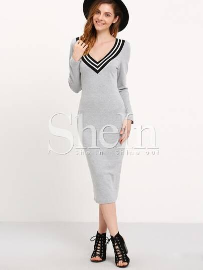 Grey Long Sleeve Slim Wiggle Dress