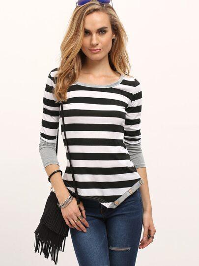 Black White Striped Asymmetrical Slim T-shirt