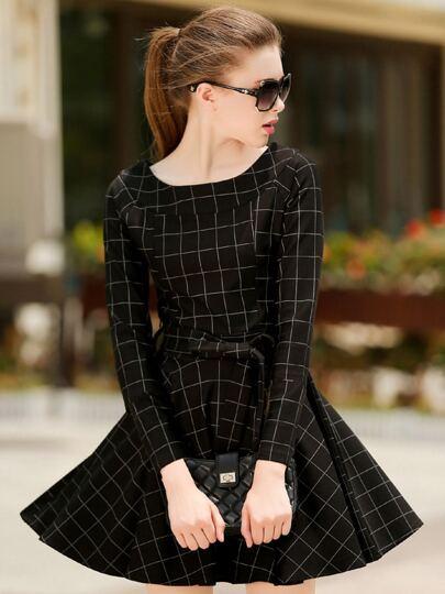 Black Minis Round Neck Plaid Houndstooth Tie-waist Dress