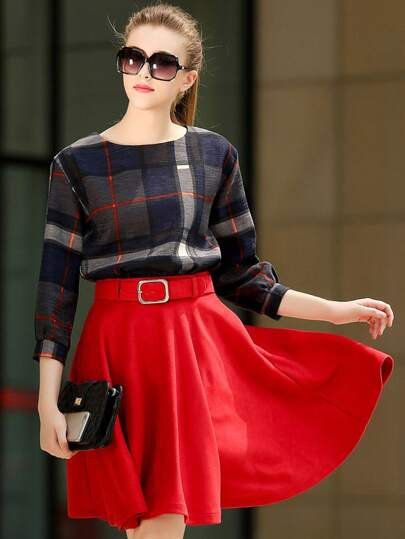 Multicolor Round Neck Plaid Top With Red Skirt