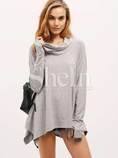 Grey Long Sleeve Unique Loose T-Shirt