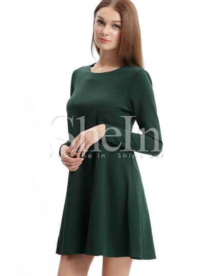 Dark Informal Green Long Sleeve Casual Dress