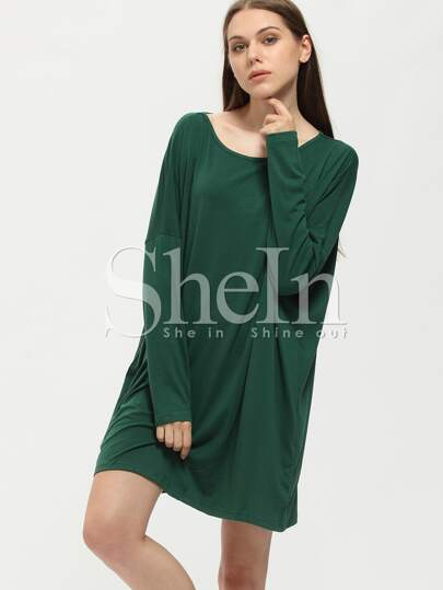 Dark Green Tees House Long Sleeve Designers Casual Dress