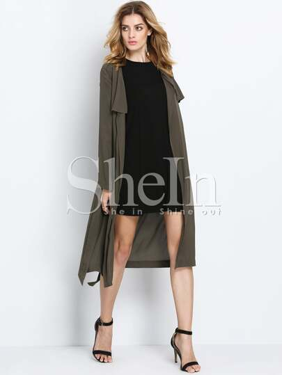 Army Green Long Sleeve Trench Coat