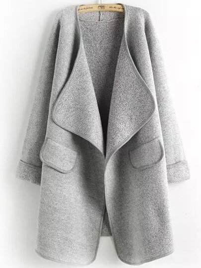 Grey Long Sleeve Peplum Trims Casual Coat