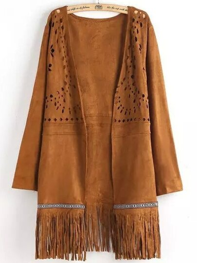 Khaki Long Sleeve Hollow Tassel Coat