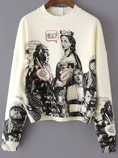 Beige Long Sleeve Statue Patterns Print Gothic Thanksgiving Carnival Crop Sweatshirt