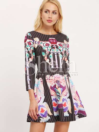 Multicolor Long Sleeve Design Pattern Print Flare Dress