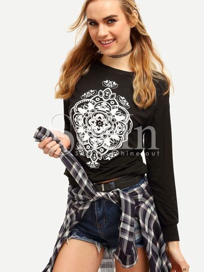 Black Long Sleeve Pattern Print Sweatshirt
