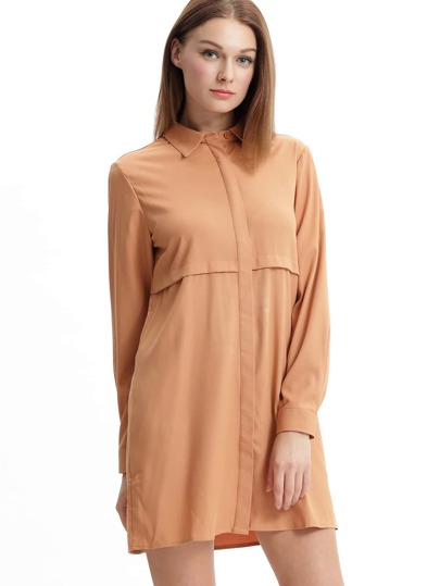 Khaki Bronze Mocha Lapel Loose Casual Shirt Dress