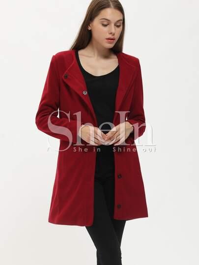 Wine Red Long Sleeve Pockets Coat