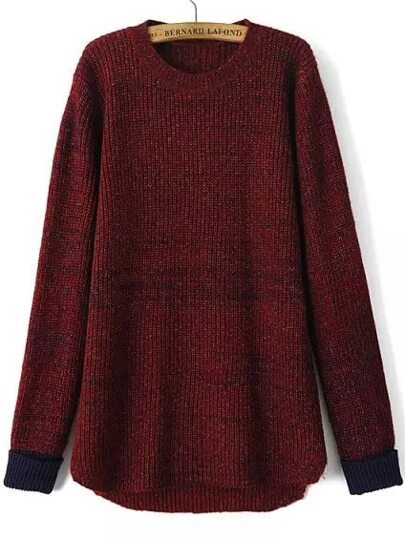 Contrast Cuff Dip Hem Wine Red Sweater