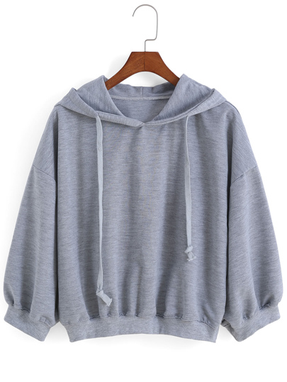 Hooded Drawstring Loose Sweatshirt