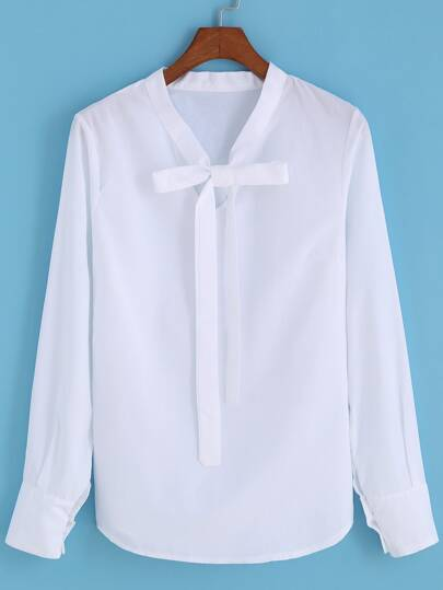 Self-tie Bow Different Typical Bowtie Collared White Blouse