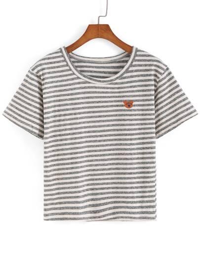 Striped Bear Patch T-shirt
