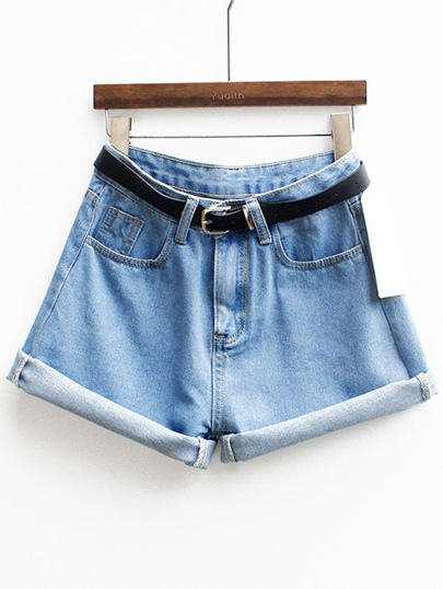 With Belt Cuffed Denim Shorts