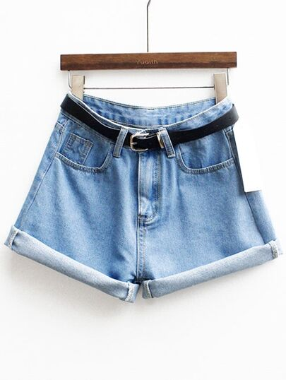 short cinturón denim-azul