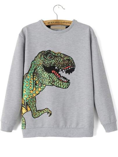 Dinosaur Patterned Print Loose Sweatshirt