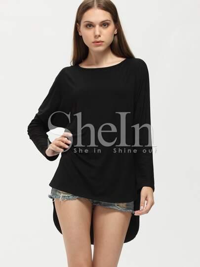 Black Round Neck High Low T-Shirt