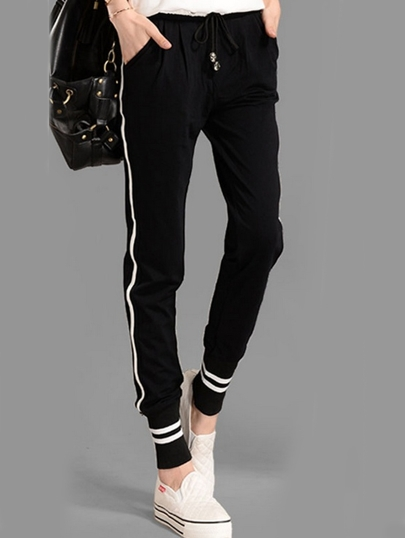 Black Drawstring Waist Striped Pant