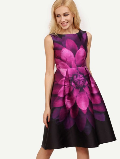 Sleeveless Florals Patterned Flare Frocks Dress