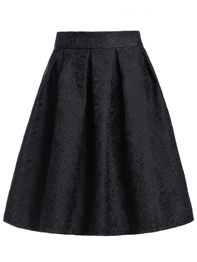 Jacquard Box Pleated Skirt