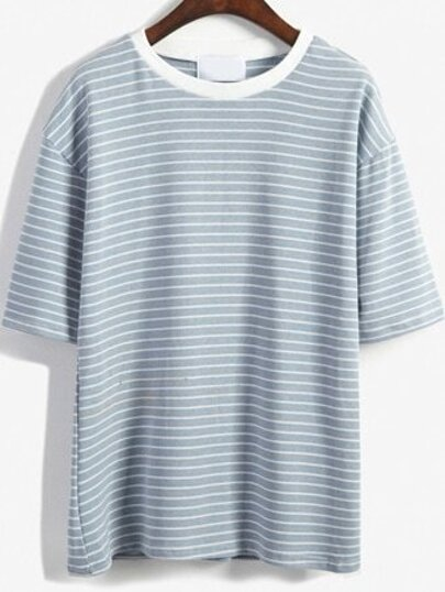Round Neck Striped Loose Sky Blue T-Shirt