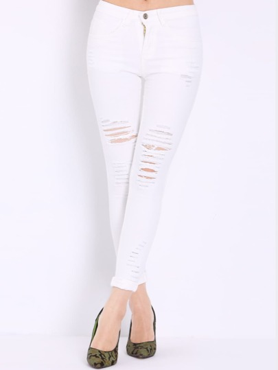 High Waist Ripped Denim White Pant Stylish Cosy Curved Jeans